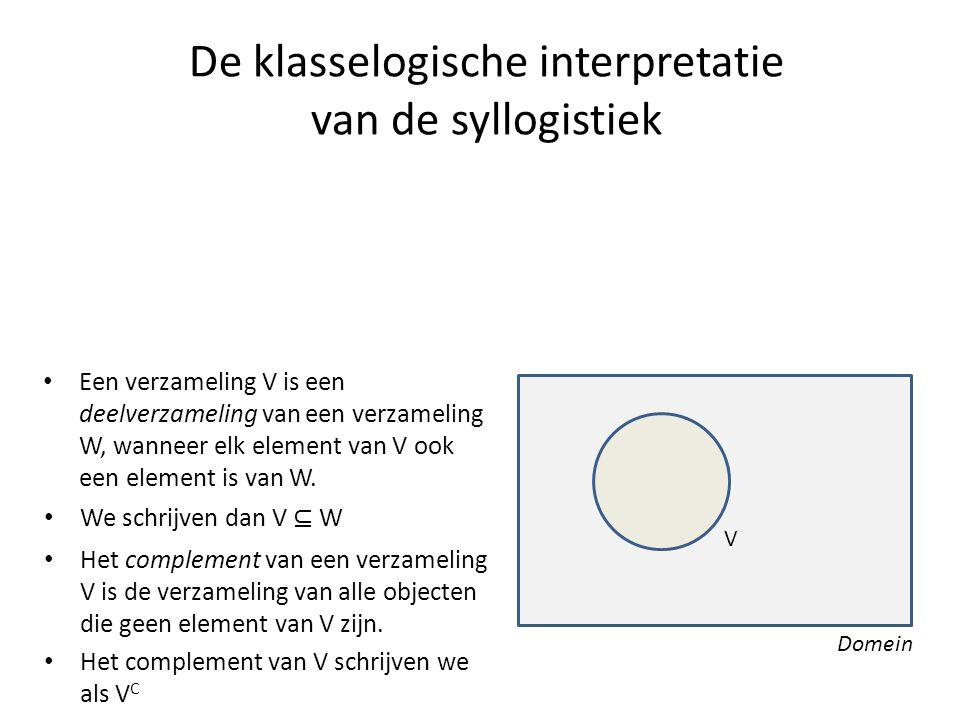 De klasselogische interpretatie van de syllogistiek • Een verzameling V is een deelverzameling van een verzameling W, wanneer elk element van V ook ee