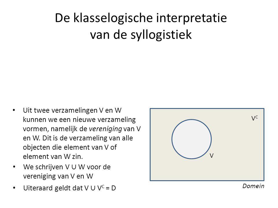 De klasselogische interpretatie van de syllogistiek • Uit twee verzamelingen V en W kunnen we een nieuwe verzameling vormen, namelijk de vereniging va