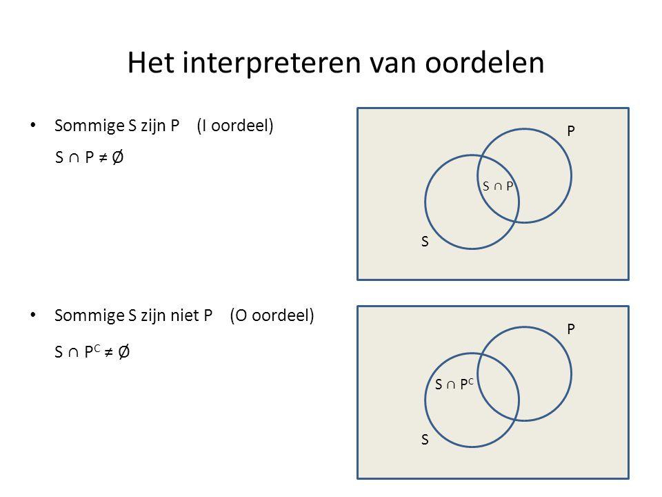 Het interpreteren van oordelen • Sommige S zijn P (I oordeel) S P S ∩ P ≠ Ø S P • Sommige S zijn niet P (O oordeel) S ∩ P C ≠ Ø S ∩ P S ∩ P C