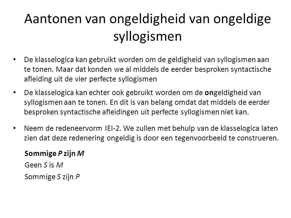 Aantonen van ongeldigheid van ongeldige syllogismen • De klasselogica kan gebruikt worden om de geldigheid van syllogismen aan te tonen. Maar dat kond