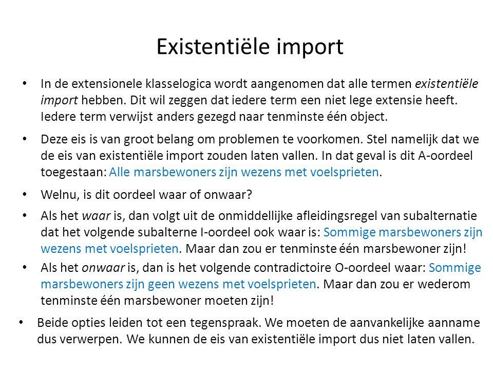 Existentiële import • In de extensionele klasselogica wordt aangenomen dat alle termen existentiële import hebben. Dit wil zeggen dat iedere term een