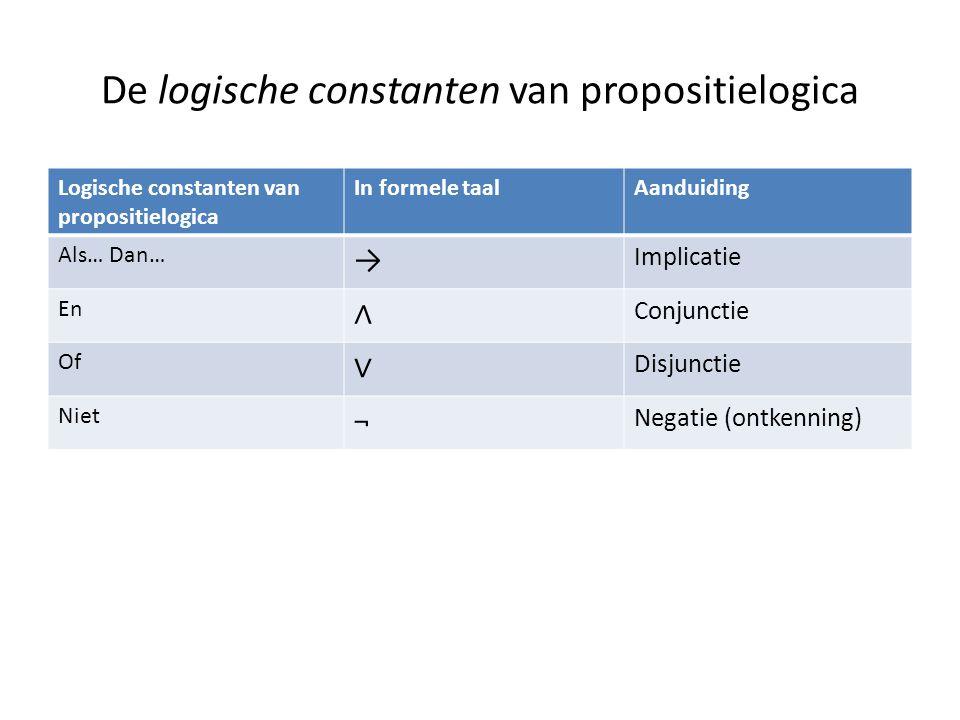 De logische constanten van propositielogica Logische constanten van propositielogica In formele taalAanduiding Als… Dan… → Implicatie En ∧ Conjunctie