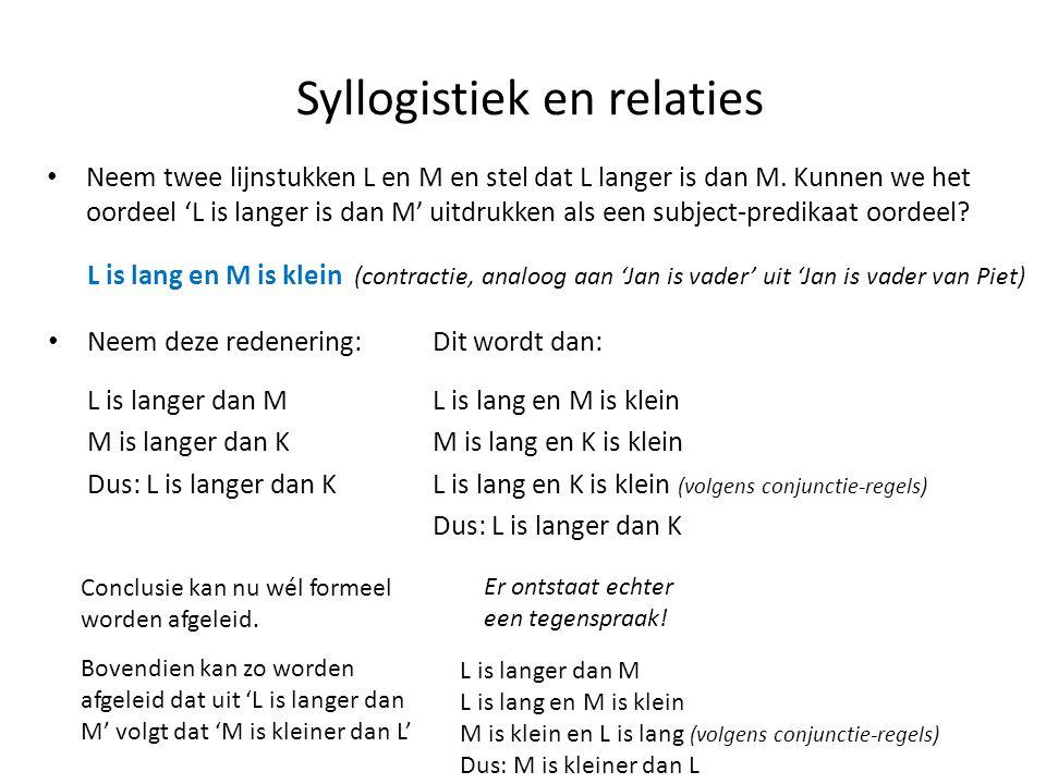 Syllogistiek en relaties • Neem twee lijnstukken L en M en stel dat L langer is dan M. Kunnen we het oordeel 'L is langer is dan M' uitdrukken als een