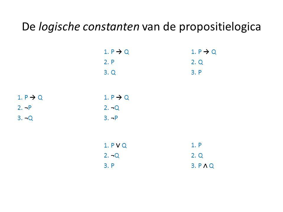De logische constanten van de propositielogica 1. P → Q 2. P 3. Q 1. P → Q 2. Q 3. P 1. P → Q 2. ¬P 3. ¬Q 1. P → Q 2. ¬Q 3. ¬P 1. P ∨ Q 2. ¬Q 3. P 1.
