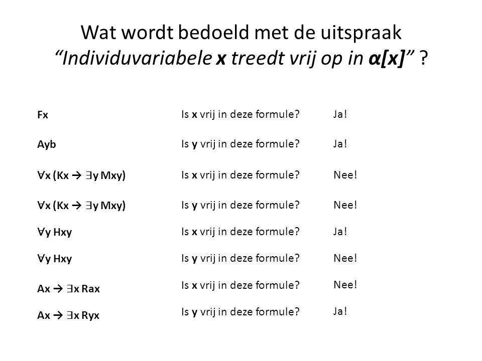 """Wat wordt bedoeld met de uitspraak """"Individuvariabele x treedt vrij op in α[x]"""" ? Fx Is x vrij in deze formule?Ja! Ayb Is y vrij in deze formule?Ja! ∀"""