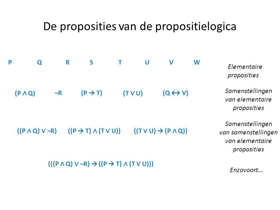 De proposities van de propositielogica PQRSTUVW Elementaire proposities Samenstellingen van elementaire proposities Samenstellingen van samenstellinge