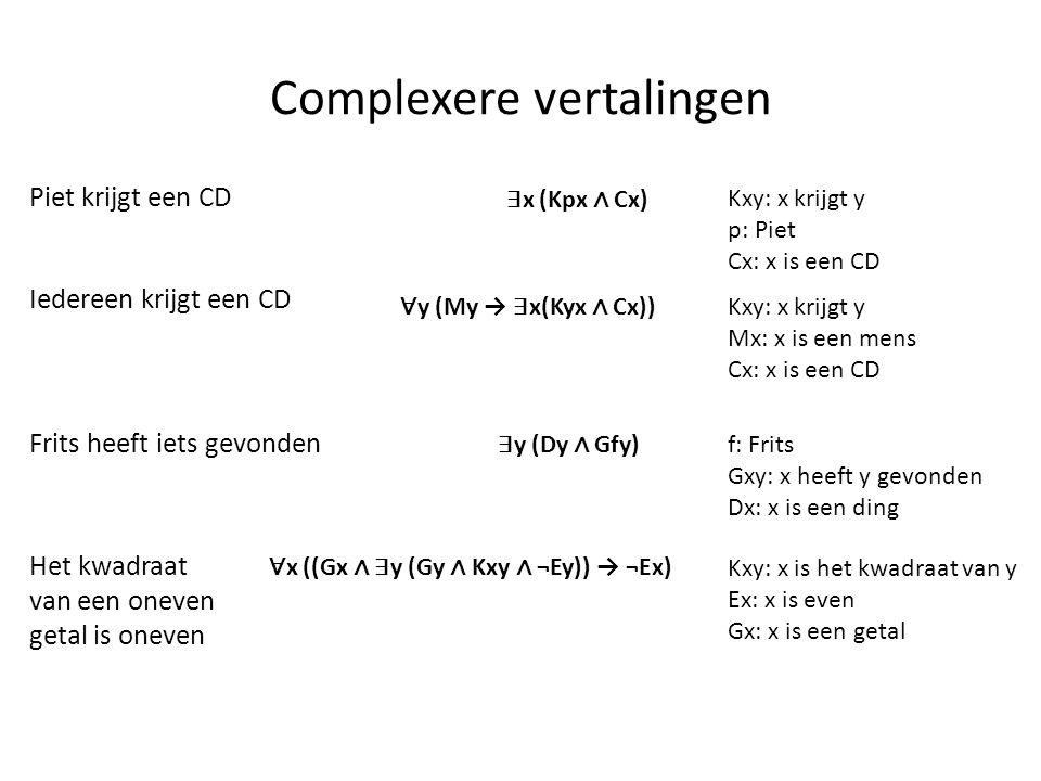 Complexere vertalingen Piet krijgt een CD ∃ x (Kpx ∧ Cx) Kxy: x krijgt y p: Piet Cx: x is een CD Iedereen krijgt een CD Kxy: x krijgt y Mx: x is een m