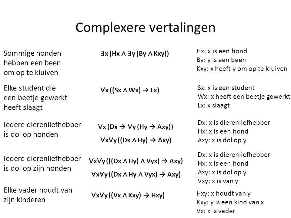 Complexere vertalingen Sommige honden hebben een been om op te kluiven ∃ x (Hx ∧ ∃ y (By ∧ Kxy)) Hx: x is een hond By: y is een been Kxy: x heeft y om
