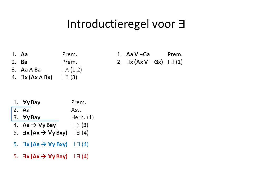 Introductieregel voor ∃ 1. AaPrem. 2. BaPrem. 3. Aa ∧ Ba I ∧ (1,2) 4. ∃ x (Ax ∧ Bx)I ∃ (3) 1. ∀ y Bay Prem. 2. Aa Ass. 3. ∀ y Bay Herh. (1) 4. Aa → ∀