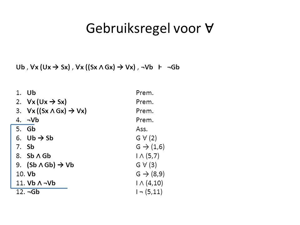 Gebruiksregel voor ∀ 1. UbPrem. 2. ∀ x (Ux → Sx) Prem. 3. ∀ x ((Sx ∧ Gx) → Vx)Prem. 4. ¬VbPrem. 5. GbAss. 6. Ub → SbG ∀ (2) 7. SbG → (1,6) 8. Sb ∧ GbI