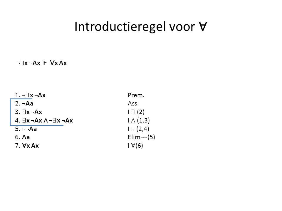 Introductieregel voor ∀ 1. ¬ ∃ x ¬Ax Prem. 2. ¬Aa Ass. 3. ∃ x ¬Ax I ∃ (2) 4. ∃ x ¬Ax ∧ ¬ ∃ x ¬Ax I ∧ (1,3) 5. ¬¬Aa I ¬ (2,4) 6. AaElim¬¬(5) 7. ∀ x AxI