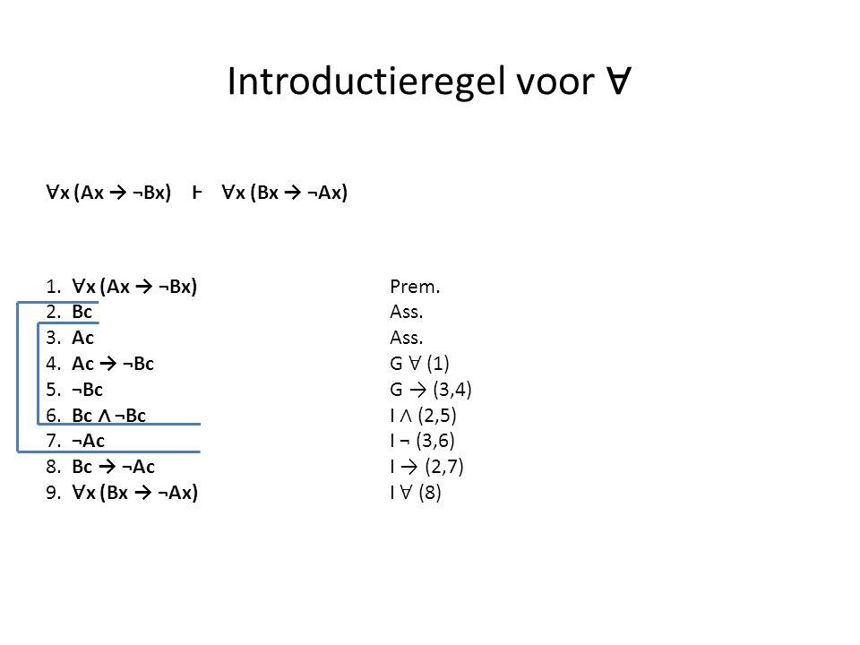 Introductieregel voor ∀ 1. ∀ x (Ax → ¬Bx) Prem. 2. Bc Ass. 3. Ac Ass. 4. Ac → ¬Bc G ∀ (1) 5. ¬Bc G → (3,4) 6. Bc ∧ ¬Bc I ∧ (2,5) 7. ¬Ac I ¬ (3,6) 8. B