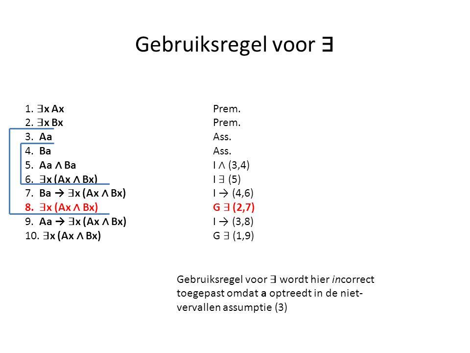 Gebruiksregel voor ∃ 1. ∃ x Ax Prem. 2. ∃ x BxPrem. 3. Aa Ass. 4. Ba Ass. 5. Aa ∧ Ba I ∧ (3,4) 6. ∃ x (Ax ∧ Bx) I ∃ (5) 7. Ba → ∃ x (Ax ∧ Bx) I → (4,6