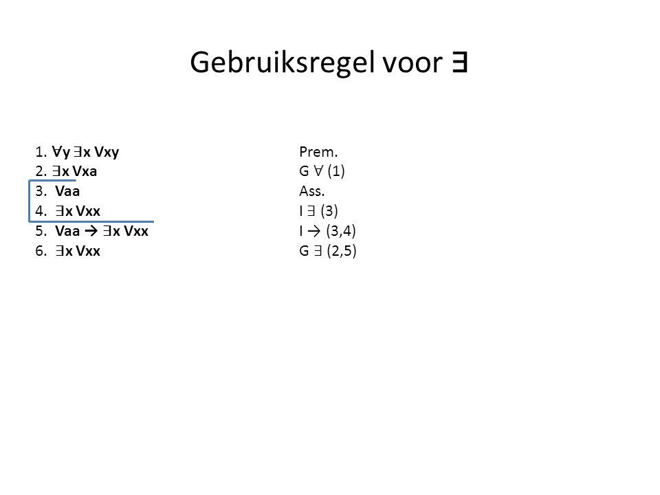Gebruiksregel voor ∃ 1. ∀ y ∃ x VxyPrem. 2. ∃ x VxaG ∀ (1) 3. Vaa Ass. 4. ∃ x Vxx I ∃ (3) 5. Vaa → ∃ x Vxx I → (3,4) 6. ∃ x VxxG ∃ (2,5)