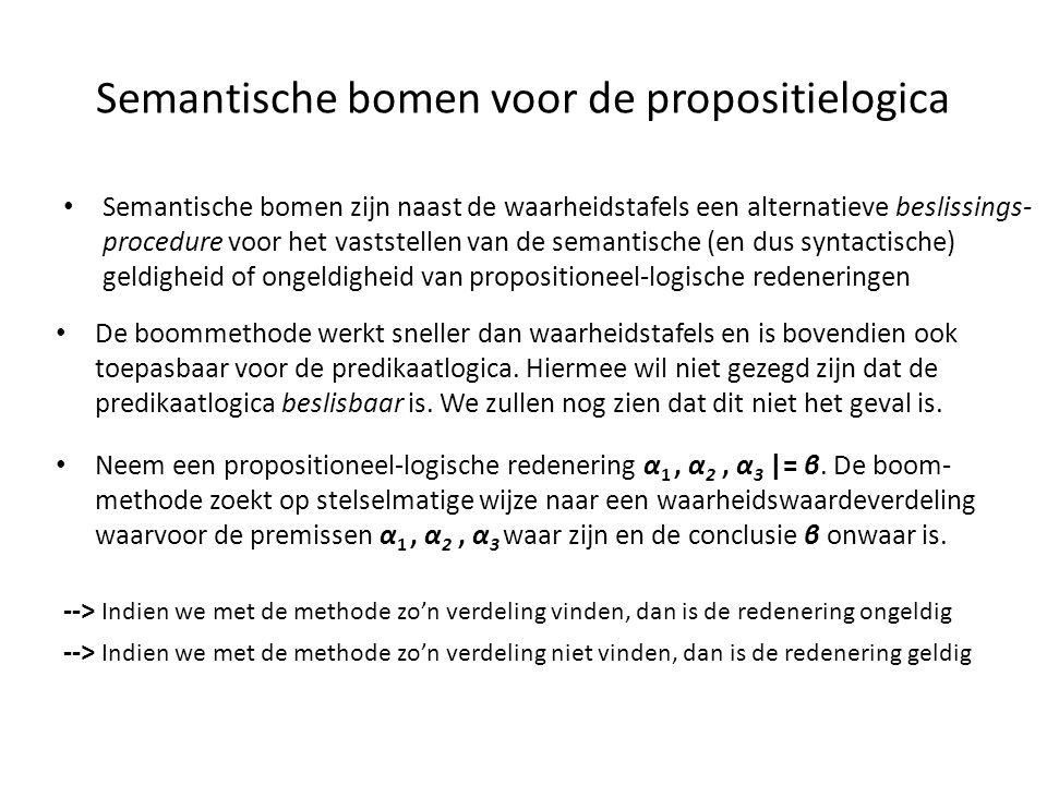 Semantische bomen voor de propositielogica • Semantische bomen zijn naast de waarheidstafels een alternatieve beslissings- procedure voor het vaststel