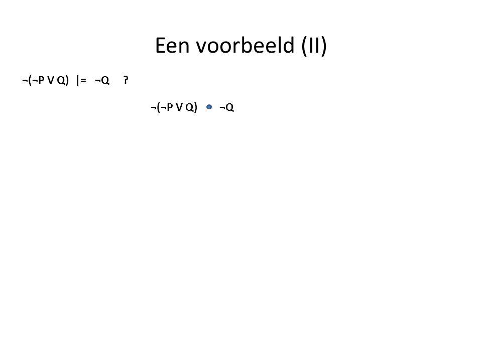 Een voorbeeld (II) ¬(¬P V Q) |= ¬Q ? ¬Q¬(¬P V Q)