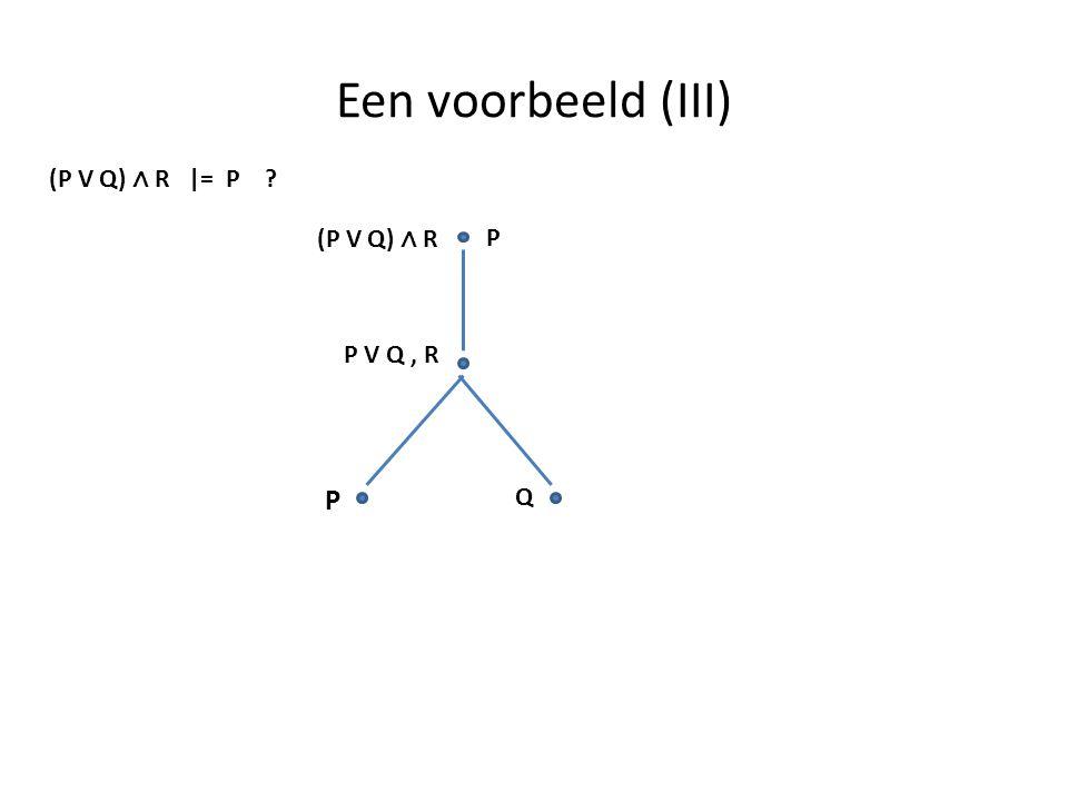 Een voorbeeld (III) (P V Q) ∧ R |= P ? P (P V Q) ∧ R P V Q, R P Q