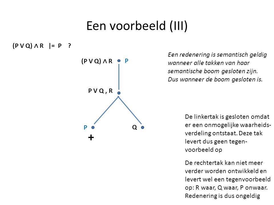 Een voorbeeld (III) (P V Q) ∧ R |= P ? P (P V Q) ∧ R P V Q, R P Q + De linkertak is gesloten omdat er een onmogelijke waarheids- verdeling ontstaat. D