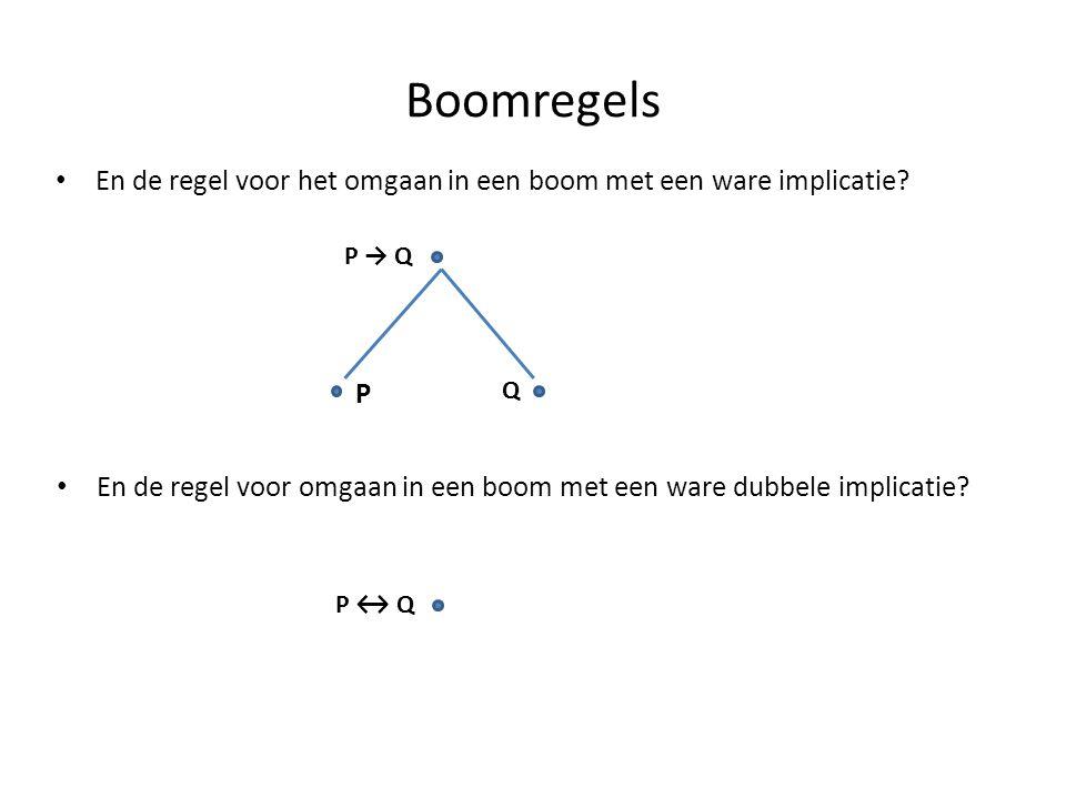 Boomregels • En de regel voor het omgaan in een boom met een ware implicatie? P → Q P Q • En de regel voor omgaan in een boom met een ware dubbele imp