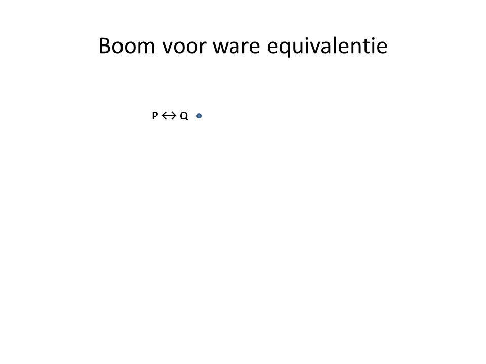 Boom voor ware equivalentie P ↔ Q