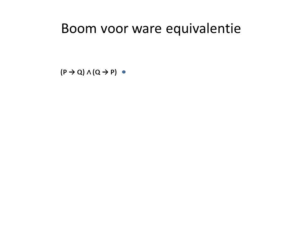 Boom voor ware equivalentie (P → Q) ∧ (Q → P)