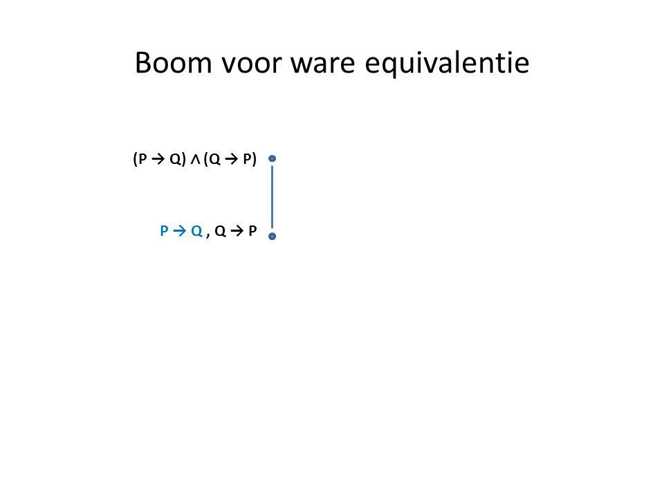 Boom voor ware equivalentie (P → Q) ∧ (Q → P) P → Q, Q → P