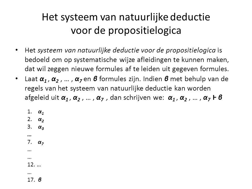 Het systeem van natuurlijke deductie voor de propositielogica • Het systeem van natuurlijke deductie voor de propositielogica is bedoeld om op systema