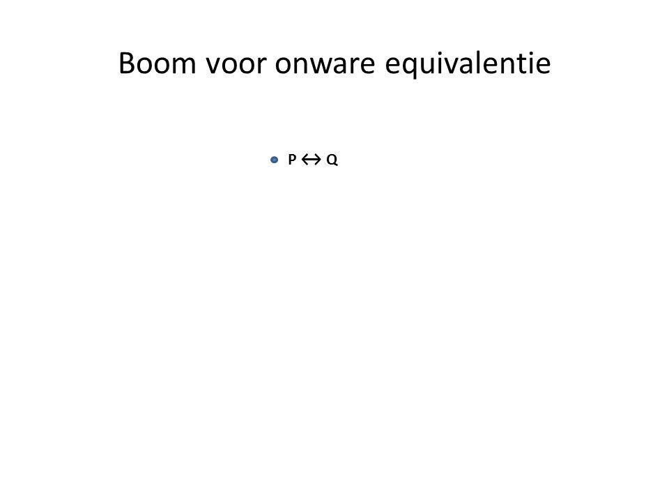 Boom voor onware equivalentie P ↔ Q