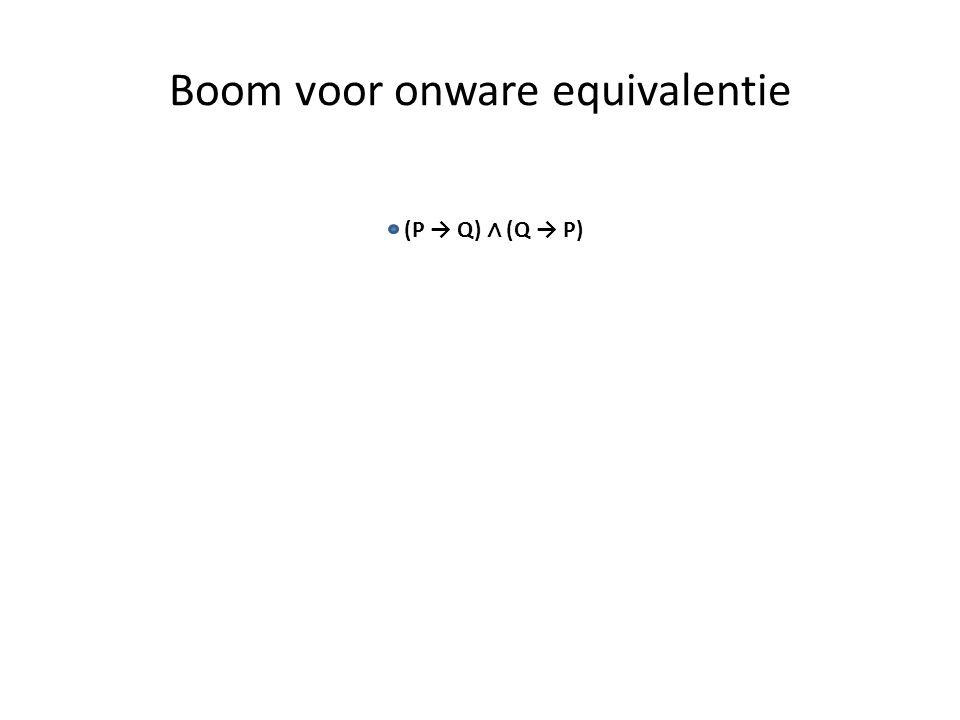 Boom voor onware equivalentie (P → Q) ∧ (Q → P)