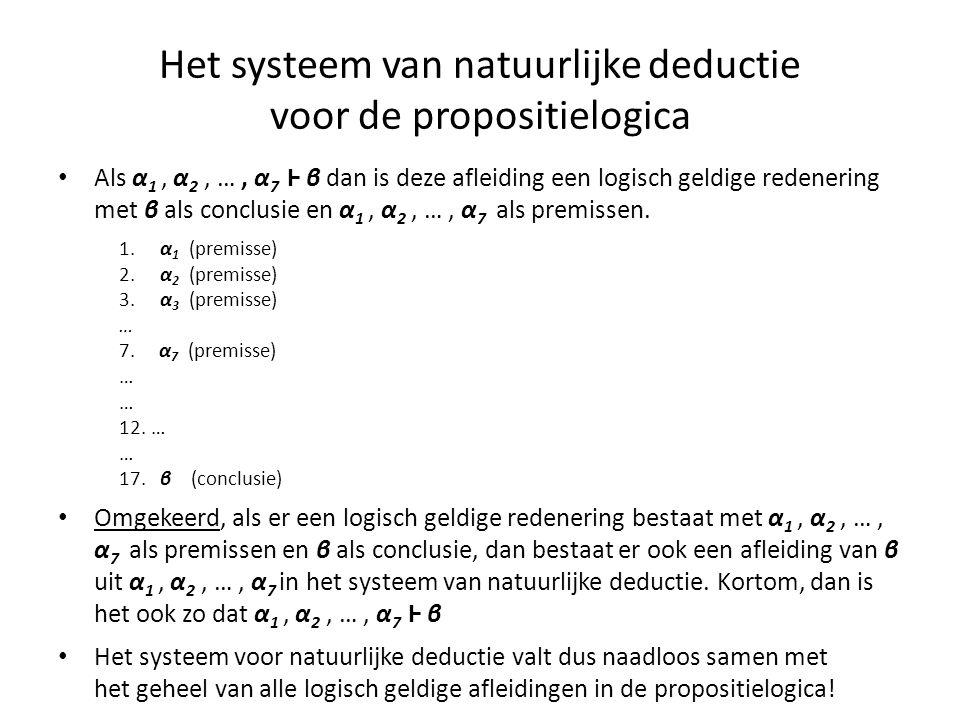 Het systeem van natuurlijke deductie voor de propositielogica • Als α 1, α 2, …, α 7 Ⱶ β dan is deze afleiding een logisch geldige redenering met β al
