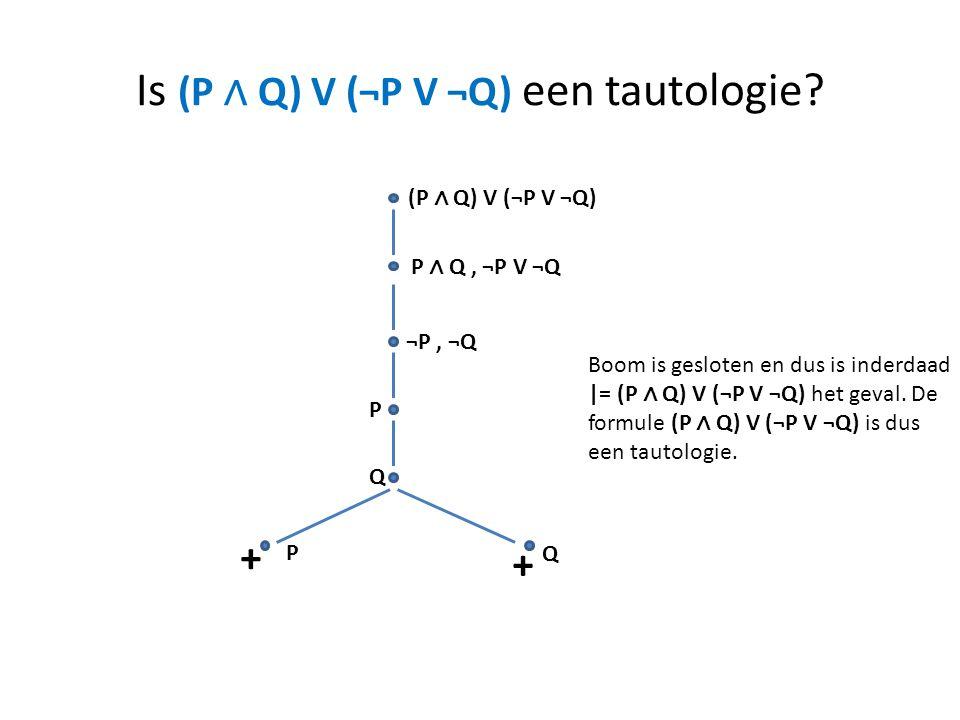Is (P ∧ Q) V (¬P V ¬Q) een tautologie? (P ∧ Q) V (¬P V ¬Q) P ∧ Q, ¬P V ¬Q ¬P, ¬Q P Q P Q + + Boom is gesloten en dus is inderdaad |= (P ∧ Q) V (¬P V ¬