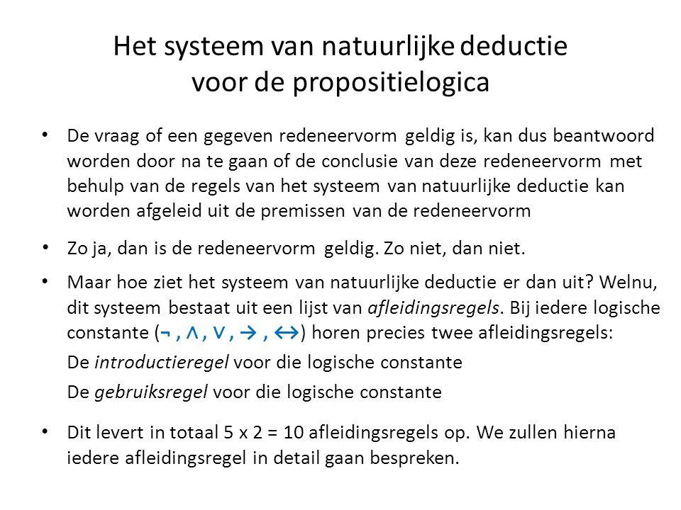 Het systeem van natuurlijke deductie voor de propositielogica • De vraag of een gegeven redeneervorm geldig is, kan dus beantwoord worden door na te g