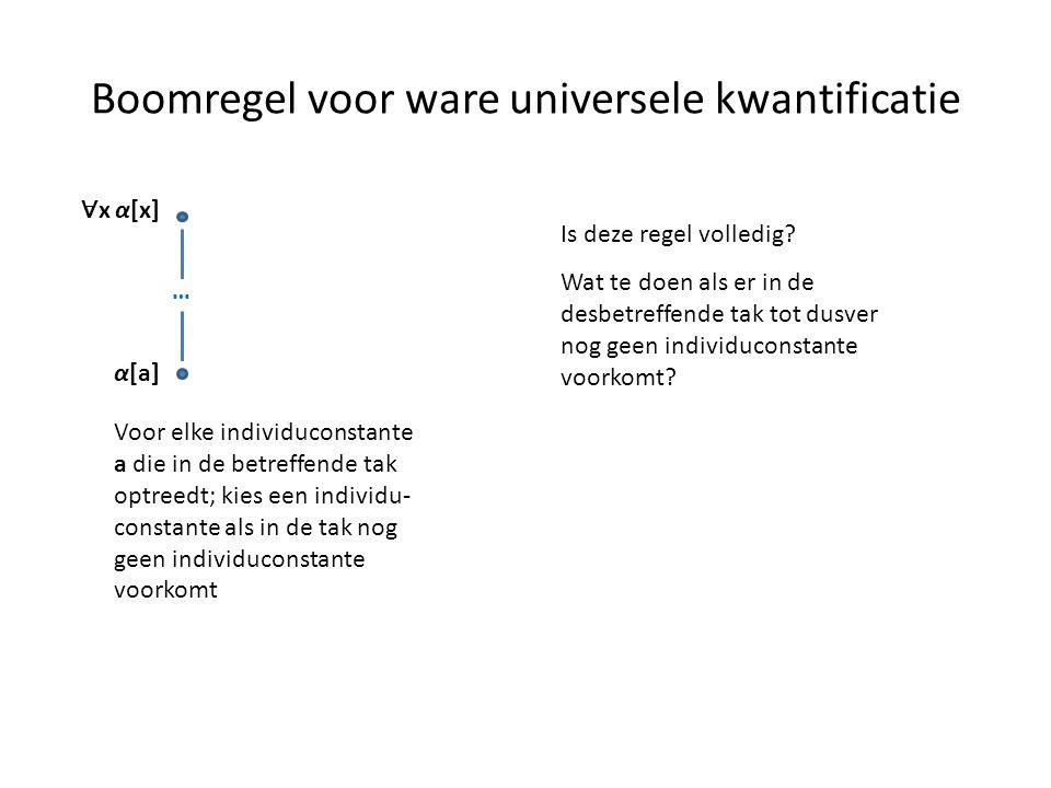 Boomregel voor ware universele kwantificatie ∀ x α[x] α[a] Voor elke individuconstante a die in de betreffende tak optreedt; kies een individu- consta
