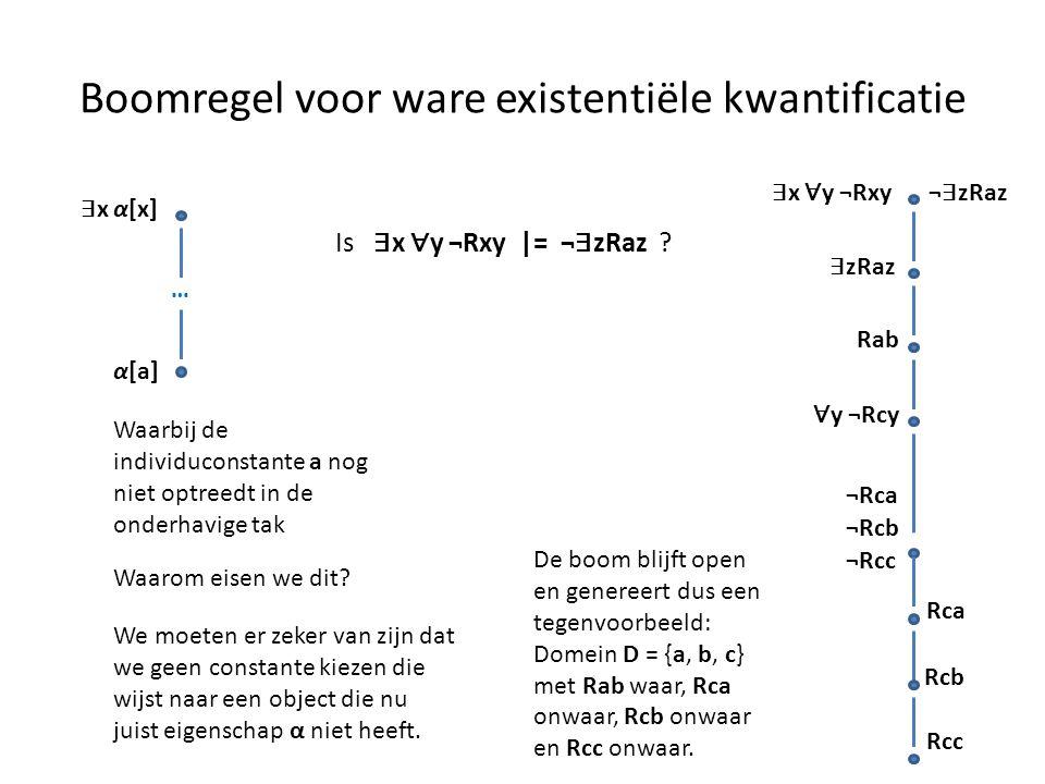 Boomregel voor ware existentiële kwantificatie ∃ x α[x] α[a] Waarbij de individuconstante a nog niet optreedt in de onderhavige tak … Waarom eisen we