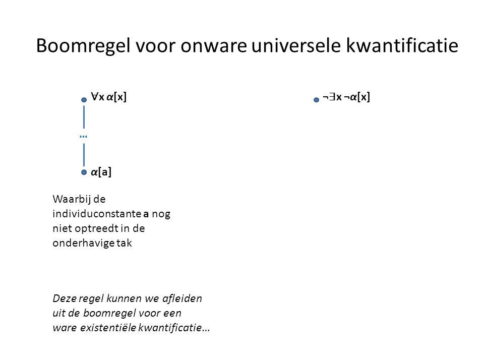 Boomregel voor onware universele kwantificatie ∀ x α[x] α[a] … Waarbij de individuconstante a nog niet optreedt in de onderhavige tak Deze regel kunne