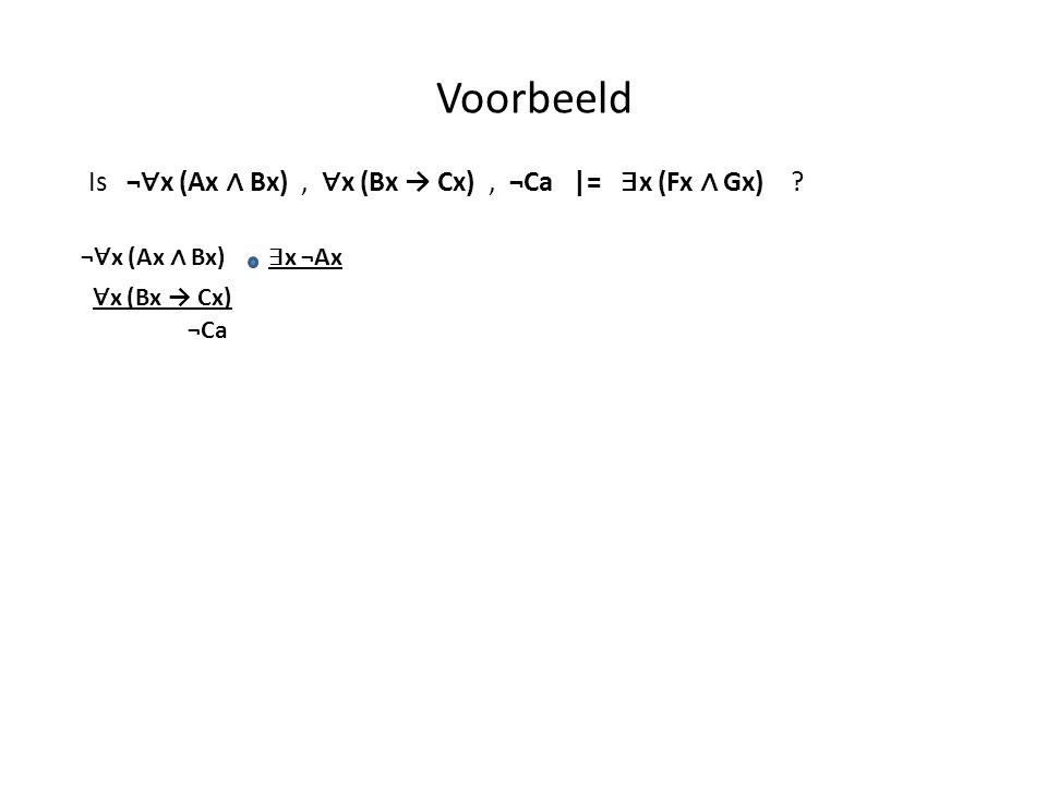 Voorbeeld ¬ ∀ x (Ax ∧ Bx) ∃ x ¬Ax ∀ x (Bx → Cx) ¬Ca Is ¬ ∀ x (Ax ∧ Bx), ∀ x (Bx → Cx), ¬Ca |= ∃ x (Fx ∧ Gx) ?