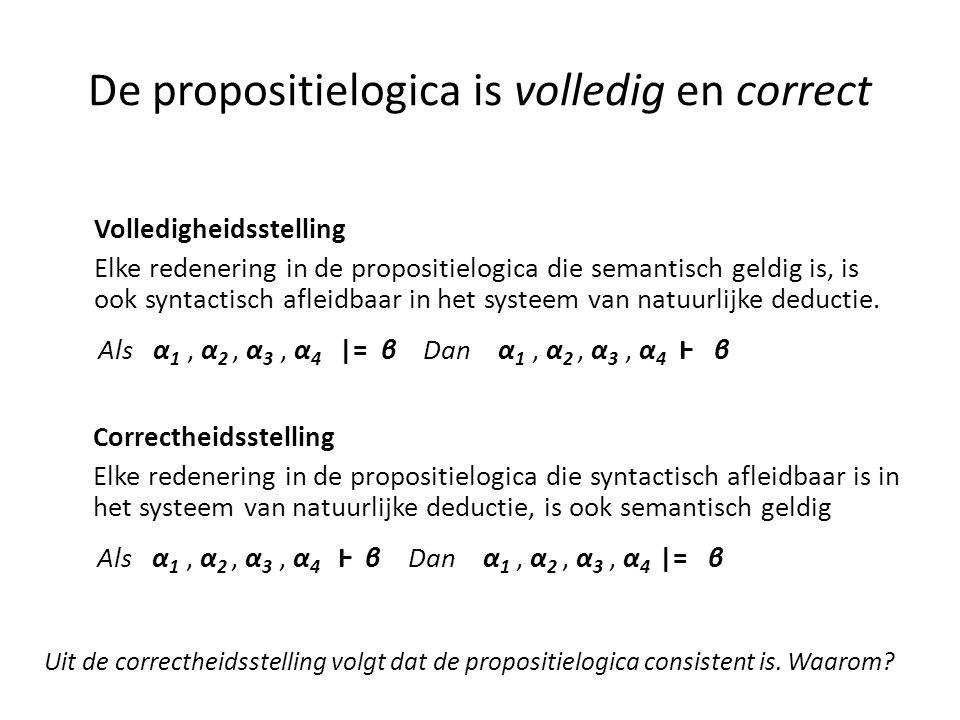 De propositielogica is volledig en correct Volledigheidsstelling Elke redenering in de propositielogica die semantisch geldig is, is ook syntactisch a