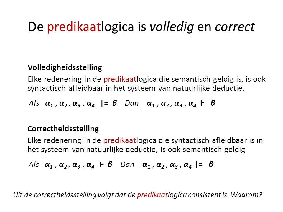 De predikaatlogica is volledig en correct Volledigheidsstelling Elke redenering in de predikaatlogica die semantisch geldig is, is ook syntactisch afl