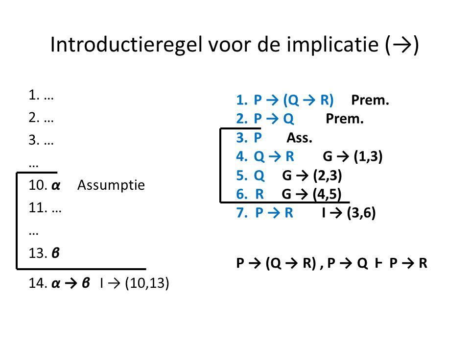 Introductieregel voor de implicatie (→) 1. … 2. … 3. … … 10. α Assumptie 11. … … 13. β 14. α → β I → (10,13) 1.P → (Q → R) Prem. 2.P → Q Prem. 3.P Ass
