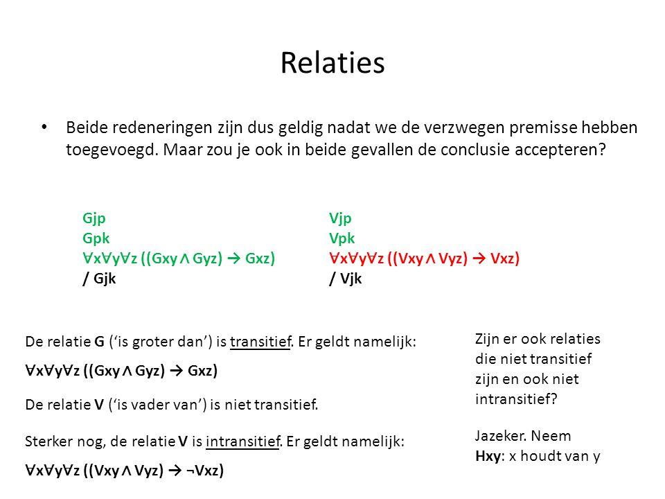 Relaties Vjp Vpk ∀ x ∀ y ∀ z ((Vxy ∧ Vyz) → Vxz) / Vjk Gjp Gpk ∀ x ∀ y ∀ z ((Gxy ∧ Gyz) → Gxz) / Gjk De relatie G ('is groter dan') is transitief. Er