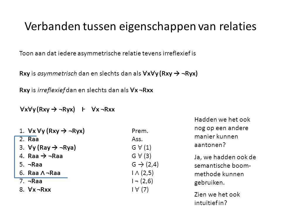 Verbanden tussen eigenschappen van relaties Toon aan dat iedere asymmetrische relatie tevens irreflexief is Rxy is asymmetrisch dan en slechts dan als