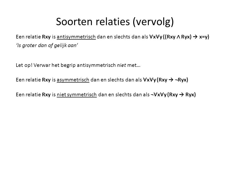 Soorten relaties (vervolg) Een relatie Rxy is antisymmetrisch dan en slechts dan als ∀ x ∀ y ((Rxy ∧ Ryx) → x=y) Let op! Verwar het begrip antisymmetr