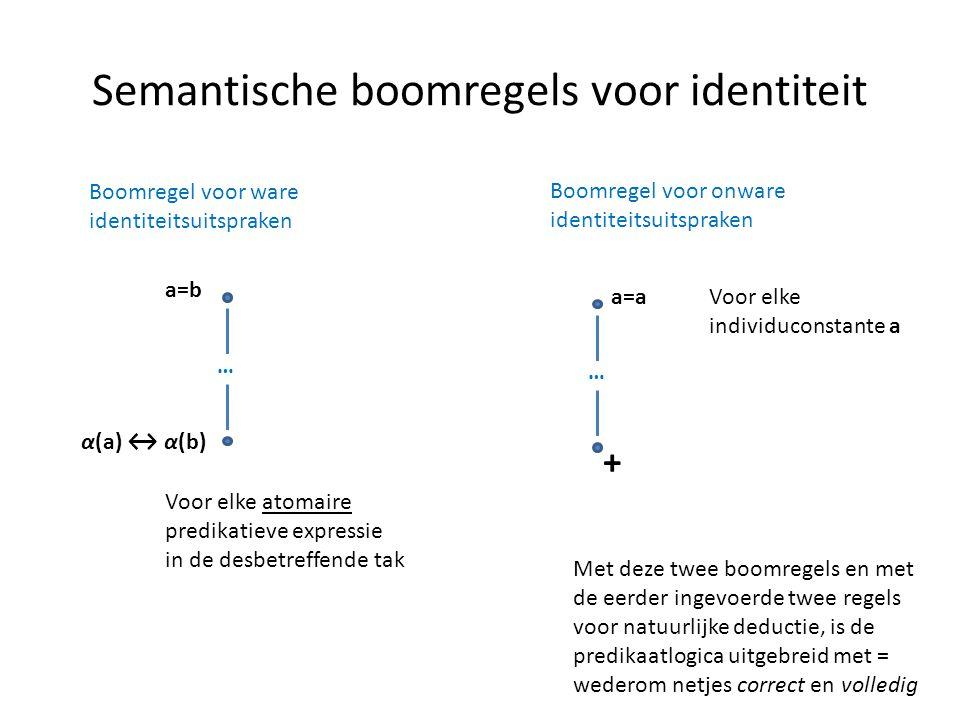 Semantische boomregels voor identiteit Geldt nu ook |= ∀ x ∀ y (x=y → y=x) ? Dat is niet duidelijk. We weten vooralsnog niet of de predikatenlogica ui
