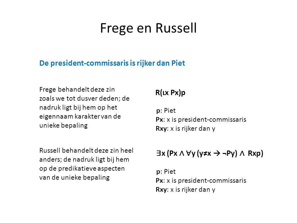 Frege en Russell De president-commissaris is rijker dan Piet Frege behandelt deze zin zoals we tot dusver deden; de nadruk ligt bij hem op het eigenna