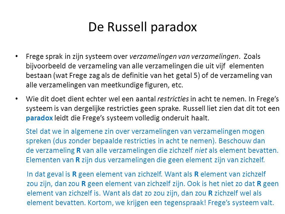 De Russell paradox • Frege sprak in zijn systeem over verzamelingen van verzamelingen. Zoals bijvoorbeeld de verzameling van alle verzamelingen die ui