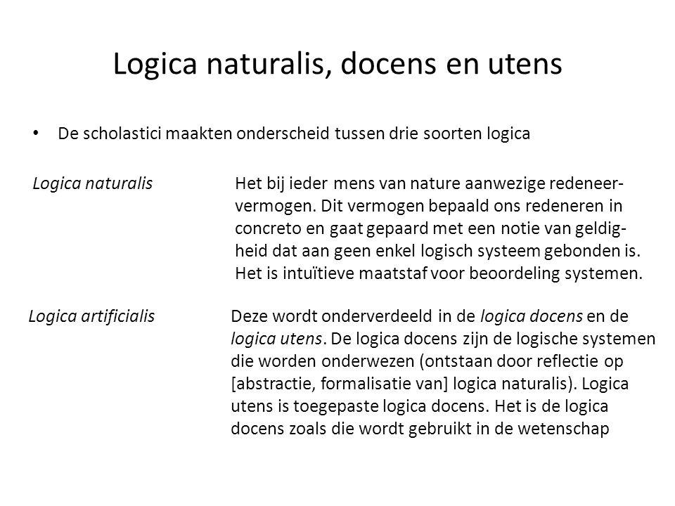 Logica naturalis, docens en utens • De scholastici maakten onderscheid tussen drie soorten logica Logica naturalisHet bij ieder mens van nature aanwezige redeneer- vermogen.