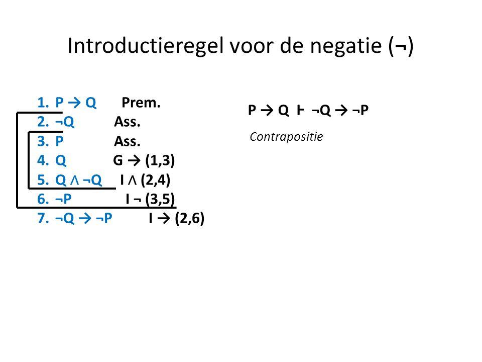 Introductieregel voor de negatie (¬) 1.P → Q Prem. 2.¬Q Ass. 3.P Ass. 4.Q G → (1,3) 5.Q ∧ ¬Q I ∧ (2,4) 6.¬P I ¬ (3,5) 7.¬Q → ¬P I → (2,6) P → Q Ⱶ ¬Q →