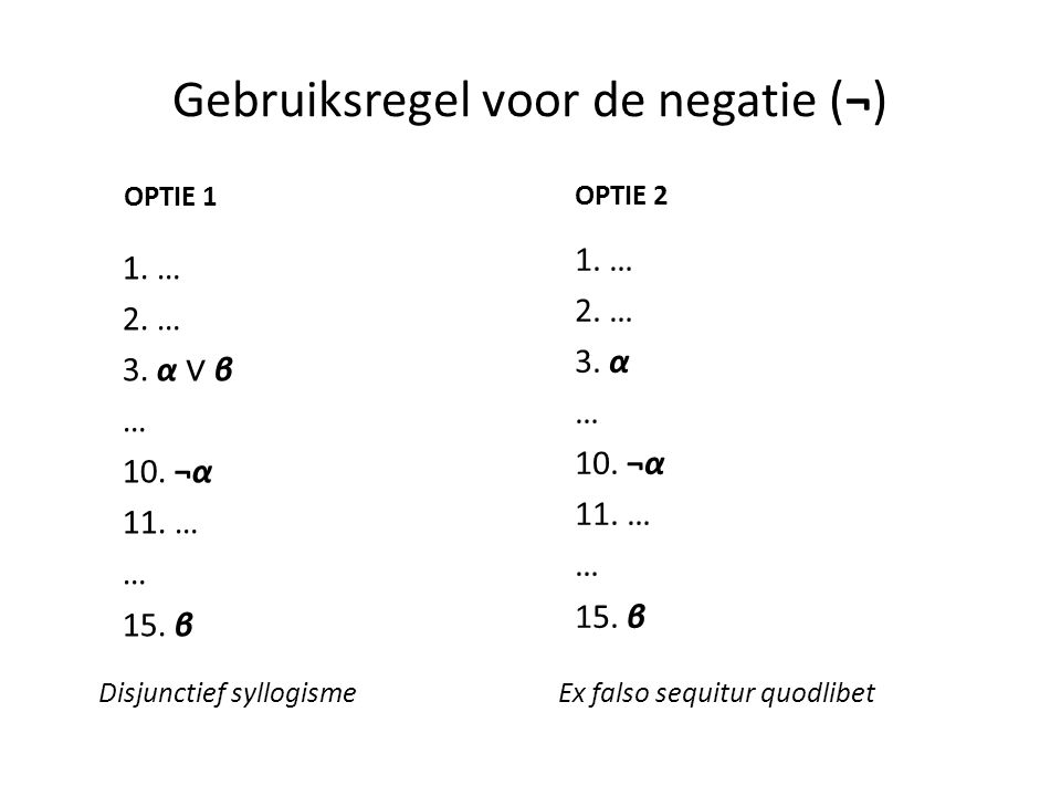 Gebruiksregel voor de negatie (¬) 1. … 2. … 3. α ∨ β … 10. ¬α 11. … … 15. β Disjunctief syllogisme OPTIE 1 OPTIE 2 1. … 2. … 3. α … 10. ¬α 11. … … 15.