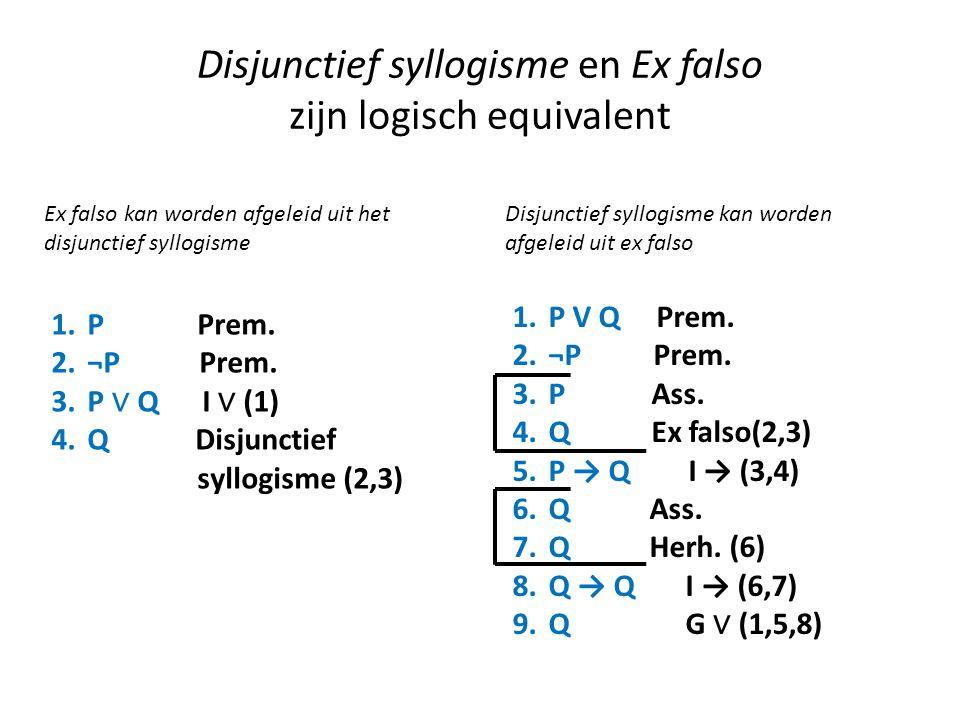 Disjunctief syllogisme en Ex falso zijn logisch equivalent 1.P Prem. 2.¬P Prem. 3.P ∨ Q I ∨ (1) 4.Q Disjunctief syllogisme (2,3) Ex falso kan worden a