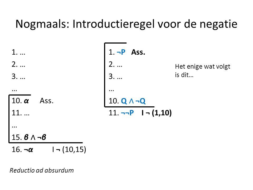 Nogmaals: Introductieregel voor de negatie 1. … 2. … 3. … … 10. α Ass. 11. … … 15. β ∧ ¬β 16. ¬α I ¬ (10,15) Reductio ad absurdum 1. ¬P Ass. 2. … 3. …